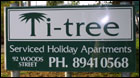 Nature strip sign for Ti Tree Apartments